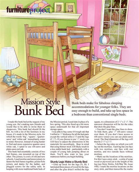 childrens bunk bed plans mission style bunk bed plans woodarchivist