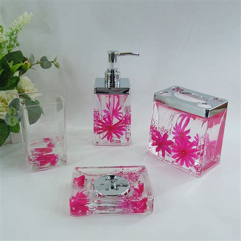 pink and black bathroom accessories pink floral acrylic bath accessory sets h4006