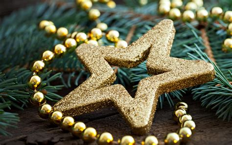 Tropical Decorations by Stars Bow Ribbons Gold Holiday Christmas Winter Wallpaper