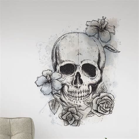 wall stickers outlet neutral floral skull wall decal