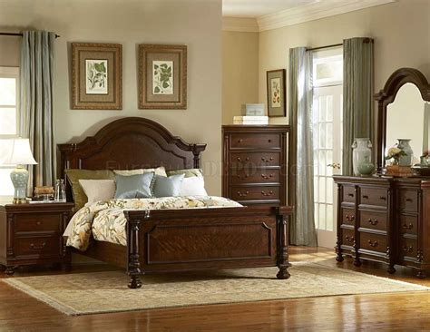 bedroom with brown furniture brown finish traditional bedroom w optional items