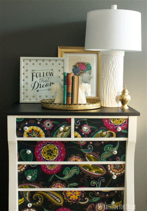 chalk paint littleton co dresser makeover using fabric and mod podge hometalk
