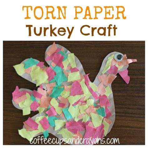 paper tearing craft thanksgiving craft torn paper turkeys coffee cups