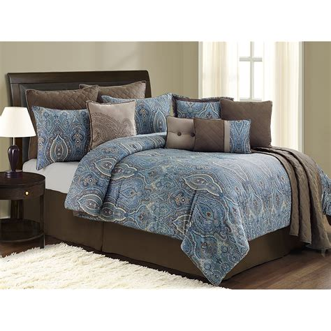 chocolate brown comforter set blue and brown bed sets interior decorating accessories