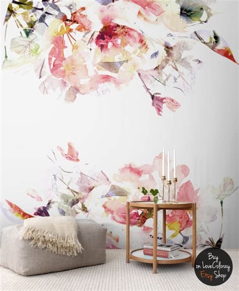 floral removable wallpaper floral removable wallpaper watercolor wall mural