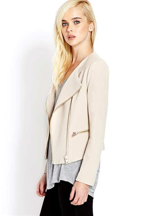 knit moto jacket forever 21 forever 21 futuristic knit moto jacket in lyst