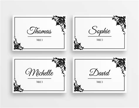 how to make table place cards in word printable black white wedding place cards
