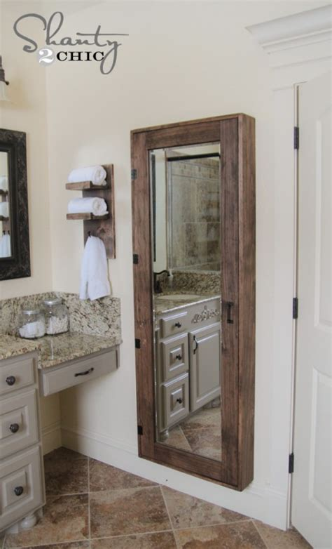 mirrored bathroom storage diy bathroom mirror storage shanty 2 chic
