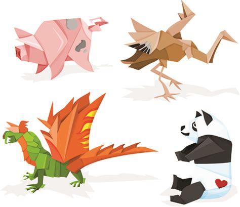 animal origami various origami animals design vector material 02