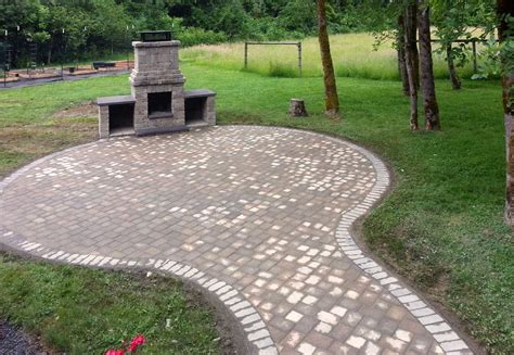 paver patio with pit paver patio ajb landscaping fence