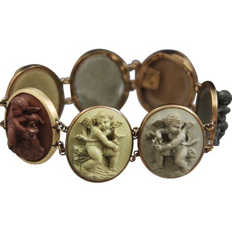 cameos for jewelry 14k lava cameo bracelet of cherubs from