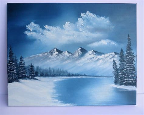 bob ross paintings winter bob ross style painting landscape blue winter mountains