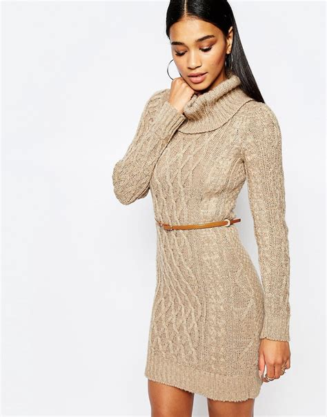 lipsy knitted dress lipsy lipsy cable knit dress with cowl neck at asos