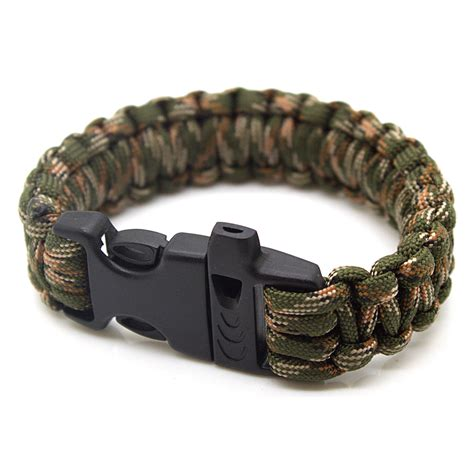 paracord bracelet with survival paracord bracelet 550lbs with whistle camo green