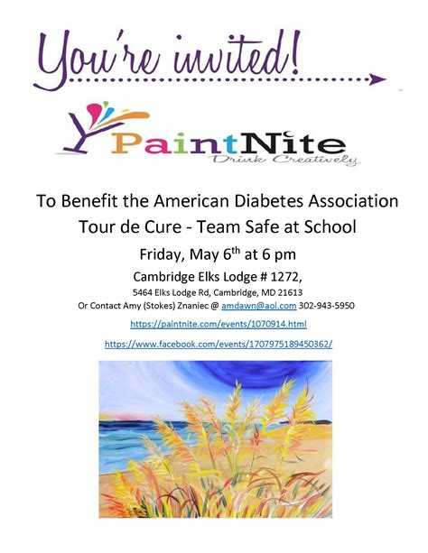 paint nite fundraiser american diabetes association tour de cure paint nite