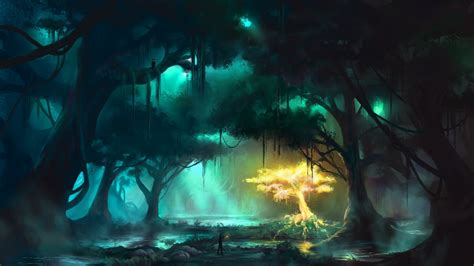 glow in the painting tree painting forest fog glow rays tree clearance
