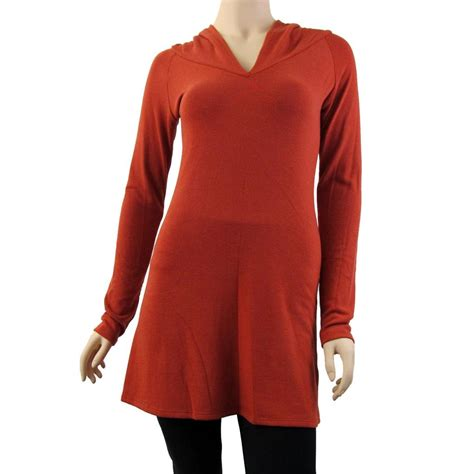 knitted hoodie womens s12 burnt orange sweater dress tunic shirt knit hoodie