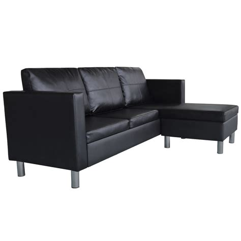 leather l shaped sectional sofa 3 seater l shaped artificial leather sectional sofa black