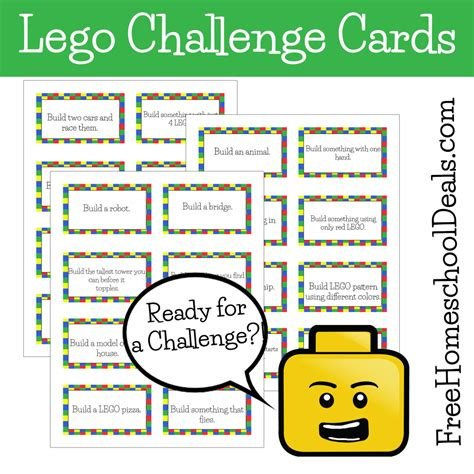 card challenges free printable lego challenge cards free homeschool deals