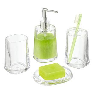 clear glass bathroom accessories plastic countertop bathroom set the container store
