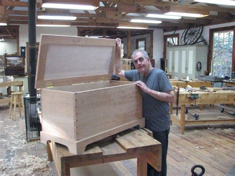 heritage school of woodworking michael with his finished chest heritage school of