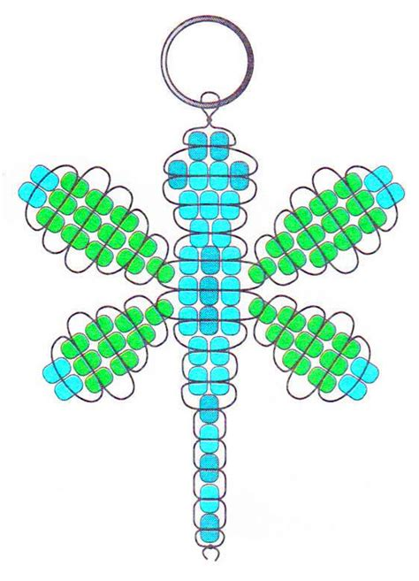 beaded keyring patterns beaded dragonfly key chain
