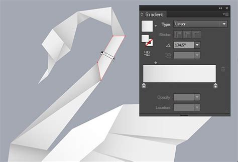 origami design tool creating an origami style vector swan in illustrator