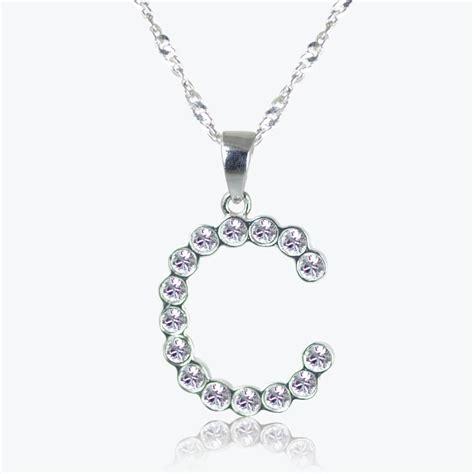 make swarovski jewelry sterling silver c initial necklace made with swarovski