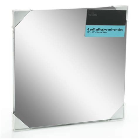 adhesive bathroom mirror wilko self adhesive mirror tiles 30 x 30cm 4pk at wilko