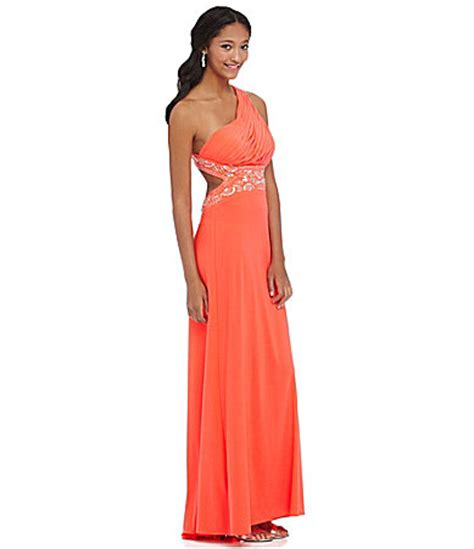 Blondie Nites One Shoulder Beaded Gown Dillards