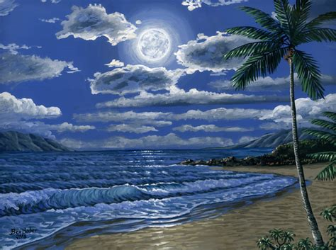 acrylic painting moonlight painter of the pacific northwest and hawaii