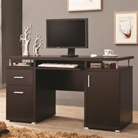 computer desk with cabinets cappuccino computer desk with 2 drawers cabinet