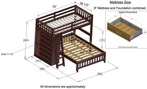 dimensions of bunk beds discovery world furniture merlot loft beds