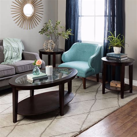 coffee table set oval coffee table side tables set wood glass