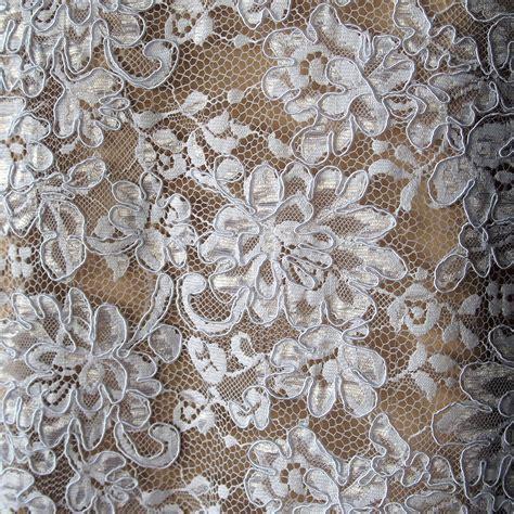 lace fabric white corded alencon bridal lace fabric floral scallop