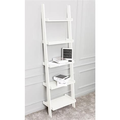 leaning ladder shelves white leaning ladder shelf with five tiers