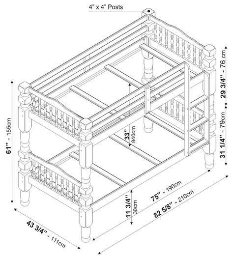 dimensions of bunk beds dakota bunkbed by palace imports