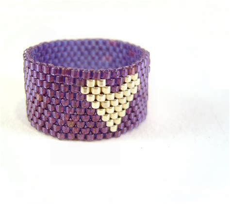 beaded ring purple ring beaded jewelry silver seed bead