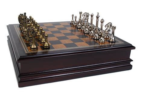 metal set metal chess set with deluxe wood board and storage 2 5