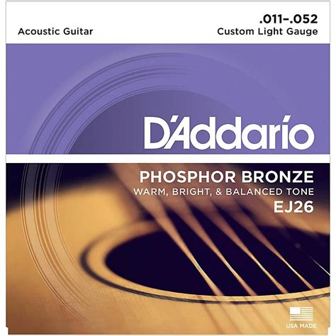 light guitar strings d addario ej26 phosphor bronze custom light acoustic