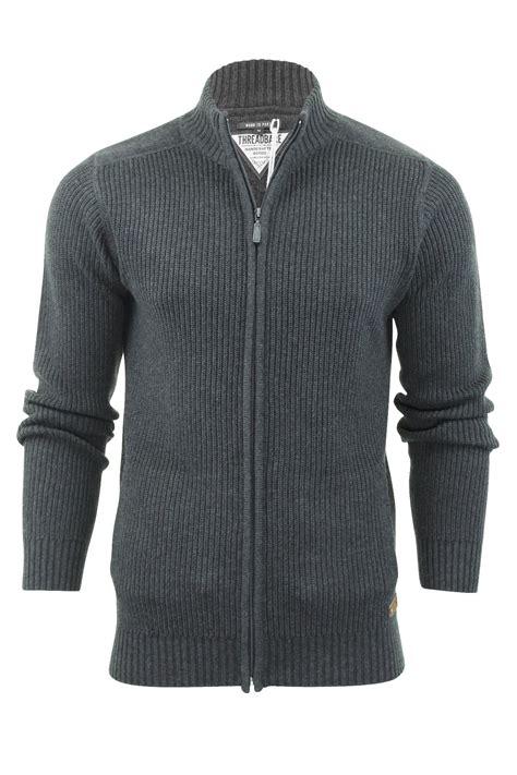 zip up knit sweater mens jumper zip up cardigan by threadbare visage cotton