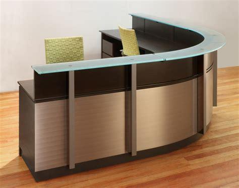 modern receptionist desk wrap around reception desk modern wood and glass