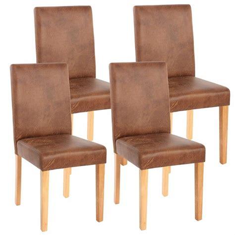 lot de 4 chaises de salle 224 manger simili cuir marron vieilli pieds clairs cds04151 d 233 coshop26