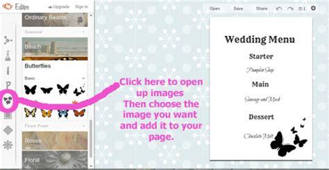 make your own menu cards make your own wedding menu cards