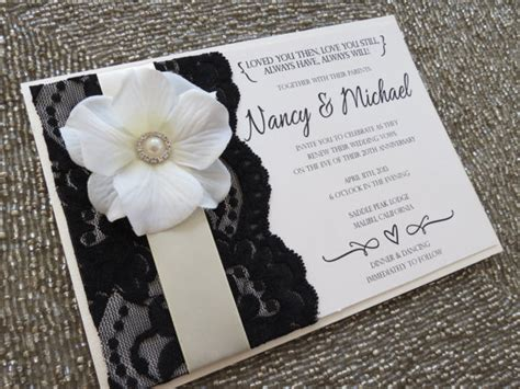 blanca black ivory and lace wedding invitation