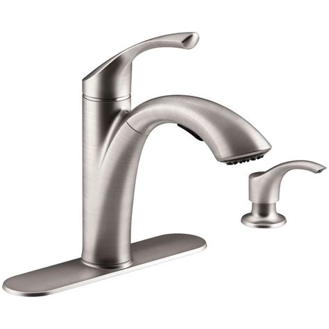 home depot kitchen sink faucet kohler mistos single handle pull out sprayer kitchen faucet in stainless steel k r72510 sd vs