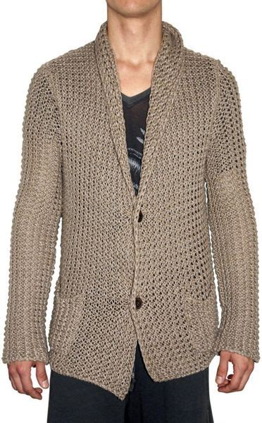 mens knit cardigan laneus chunky knit cardigan sweater in beige for lyst