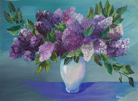 acrylic painting flowers canvas acrylic painting canvas lilac purple flowers drawing