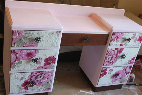decoupage furniture with fabric hometalk vintage vanity floral makeover