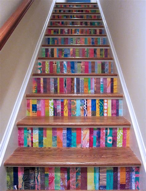 decoupage stairs printing with gelli arts 174 diy home decorating with gelli